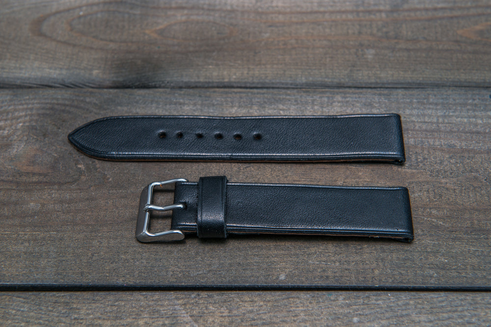 Buttero leather watch strap (black), handmade in Finland - 10 mm, 12 mm, 14 mm, 16mm, 17 mm, 18mm, 19 mm, 20mm, 21mm, 22mm, 23 mm,  24mm, 25 mm, 26 mm. - finwatchstraps