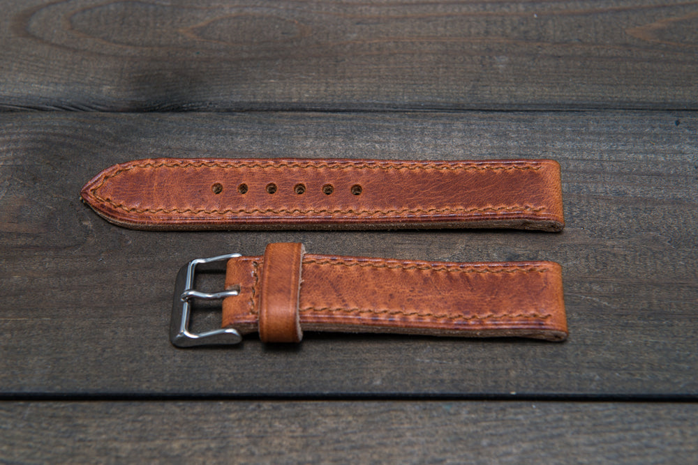 Dublin Cognac Horween hand stitched leather watch band,  handmade in Finland - finwatchstraps