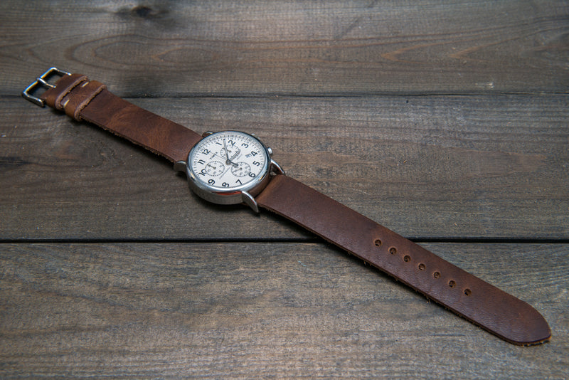 One-piece military watch band, Horween Derby Nut Brown leather watch strap - finwatchstraps