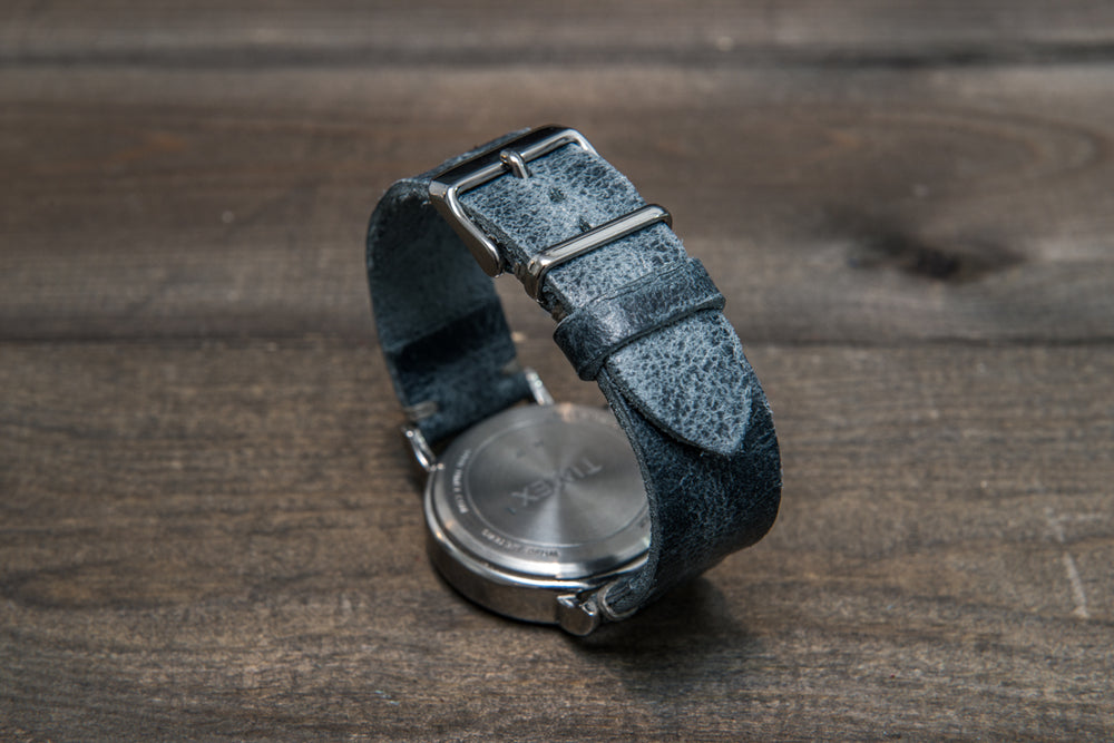 Suede vintage leather watch strap (Crazy cow, Basalt), 2 keepers, handmade in Finland