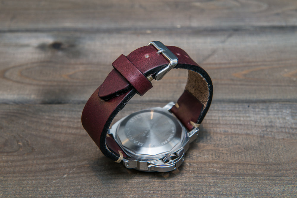 Leather watch strap 3-4 mm thick, Horween Burgundy Chromexcel, handmade in Finland.