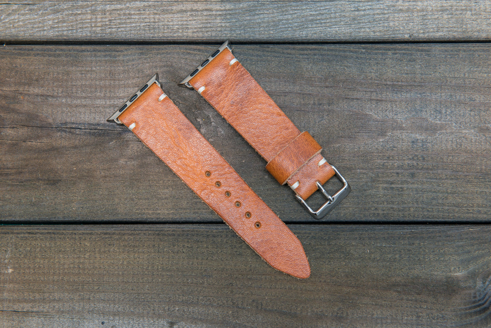 Apple Watch band, Horween Derby English Tan: 38mm, 42mm. Gold, Rose gold, Black and Silver iWatch adapters. Tapered watch band for iWatch. - finwatchstraps