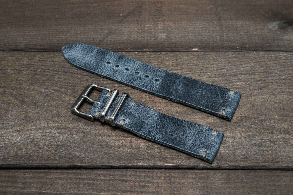 Suede vintage leather watch strap (Crazy cow, Basalt), 2 metallic keepers, handmade in Finland