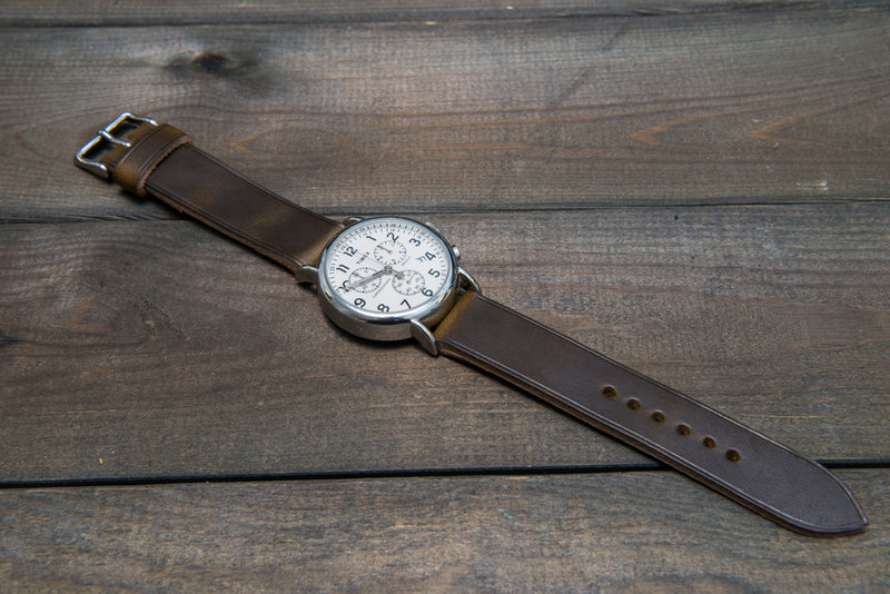 Horween Olive Chromexcel leather watch strap, non-stitched, handmade in Finland