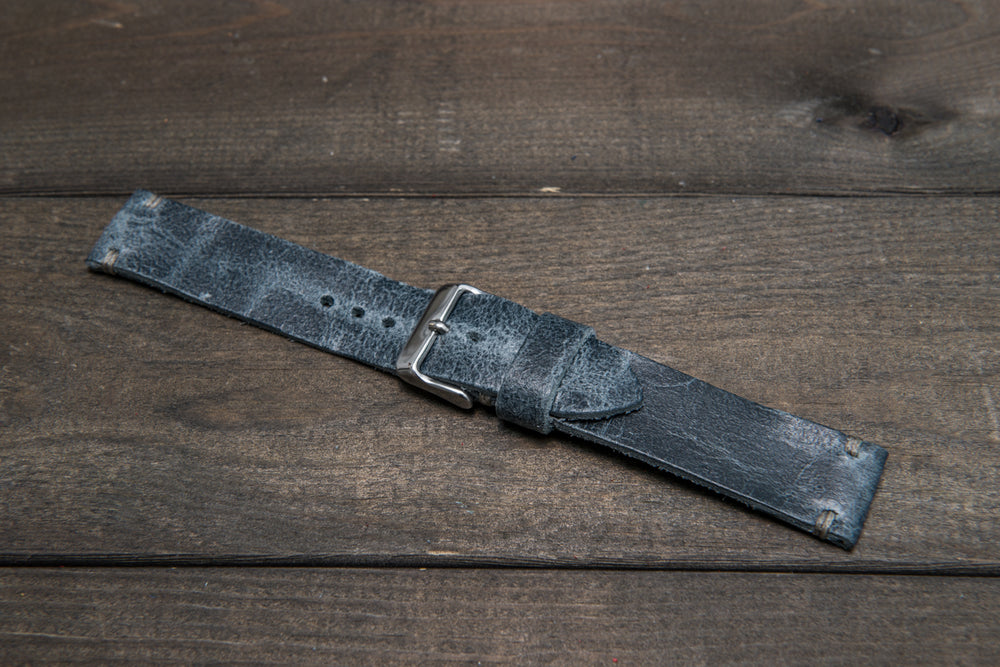 Suede vintage leather watch strap (Crazy cow, Basalt), 1 leather keeper, handmade in Finland