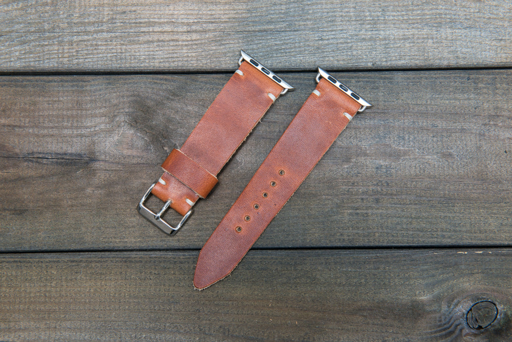 Apple watch leather band Horween Dublin Cognac 38mm, 42mm. Tapered 24x20 mm for iWatch 42 mm, 22x18 mm for iWatch 38 mm. - finwatchstraps