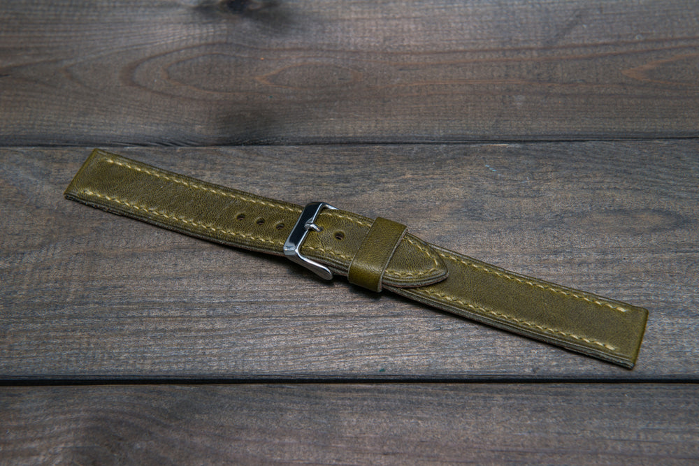 Buttero leather watch strap (Verdone), handmade in Finland - 16mm, 17 mm, 18mm, 19 mm, 20mm, 21mm, 22mm, 23 mm,  24mm, 25 mm, 26 mm. - finwatchstraps