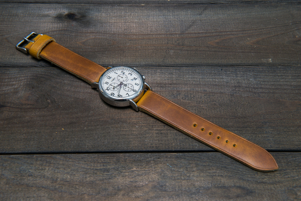 Horween SunGold Cavalier (Chromexcel) leather watch strap, handmade in Finland - 10 mm, 12 mm, 14 mm, 16mm, 17 mm, 18mm, 19 mm, 20mm, 21 mm, 22mm, 23 mm, 24mm, 25 mm, 26m