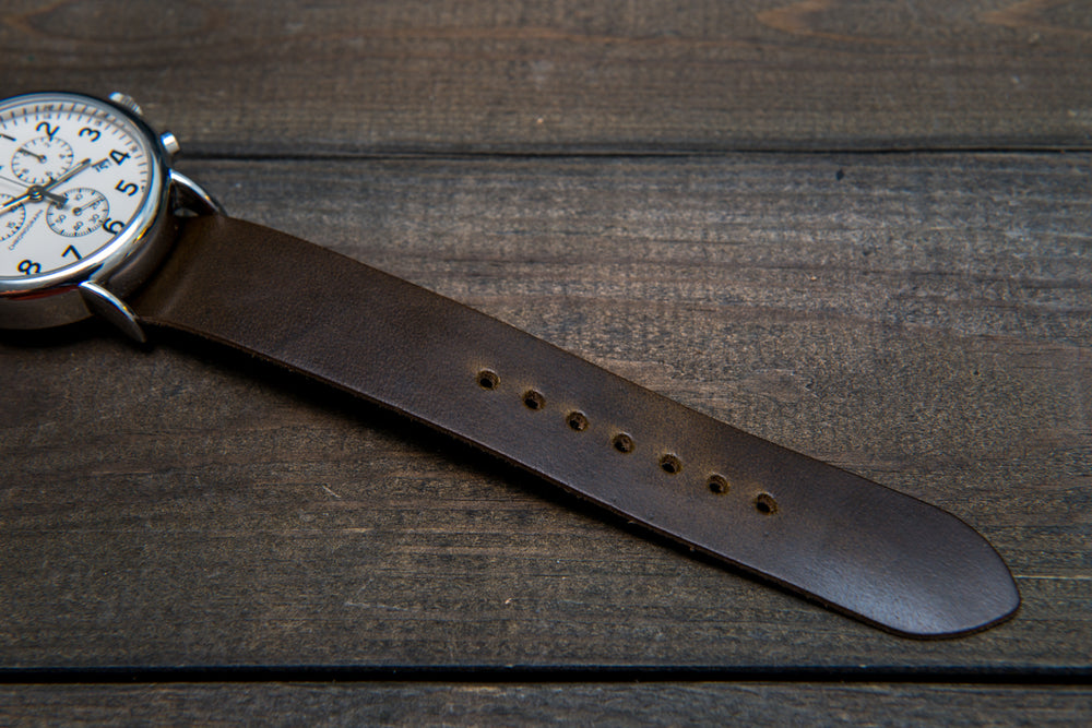 One-piece military watch band, Horween Olive Chromexcel leather watch strap - finwatchstraps