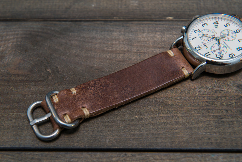Tan Horsebutt leather watch strap, handmade in Finland - 16mm, 17 mm, 18mm, 19mm, 20mm, 21 mm, 22mm, 23 mm, 24mm. - finwatchstraps