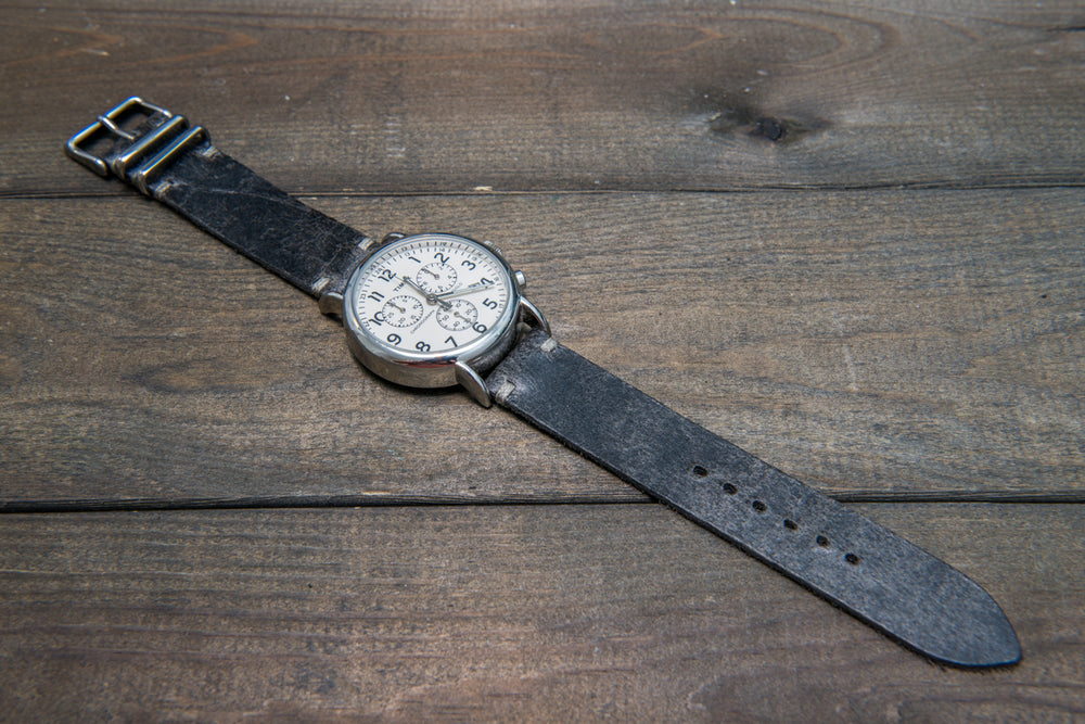 Suede vintage leather watch strap (Crazy cow), handmade in Finland - 16mm, 17 mm, 18mm, 19 mm, 20mm, 21mm, 22mm, 23 mm,  24mm, 25 mm, 26 mm. - finwatchstraps