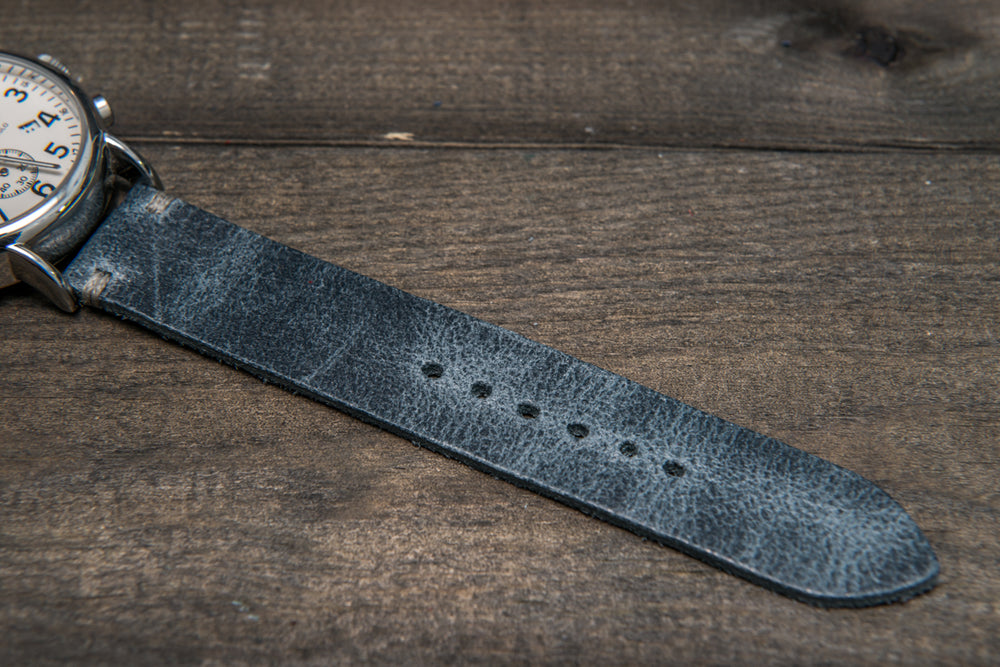 Suede vintage leather watch strap (Crazy cow, Basalt), 2 metallic keepers, handmade in Finland - finwatchstraps