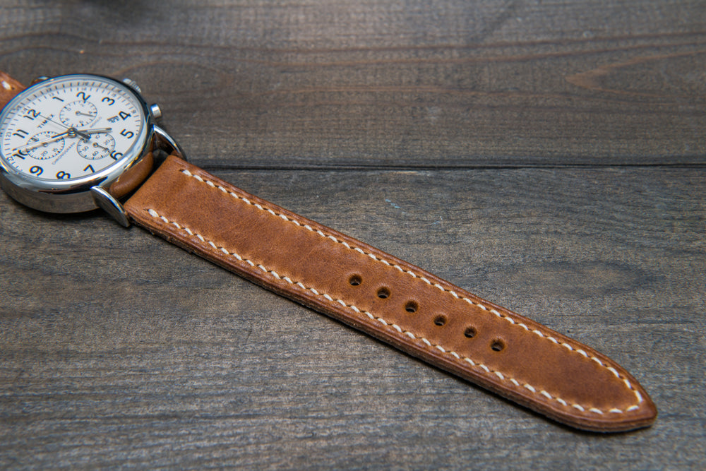 Buttero leather watch strap (English Saddle), handmade in Finland - 16mm, 17 mm, 18mm, 19 mm, 20mm, 21mm, 22mm, 23 mm,  24mm, 25 mm, 26 mm. - finwatchstraps