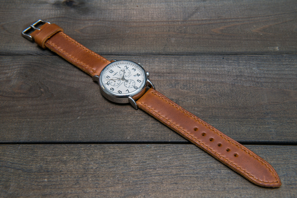 Whiskey Cavalier hand stitched leather watch band,  handmade in Finland