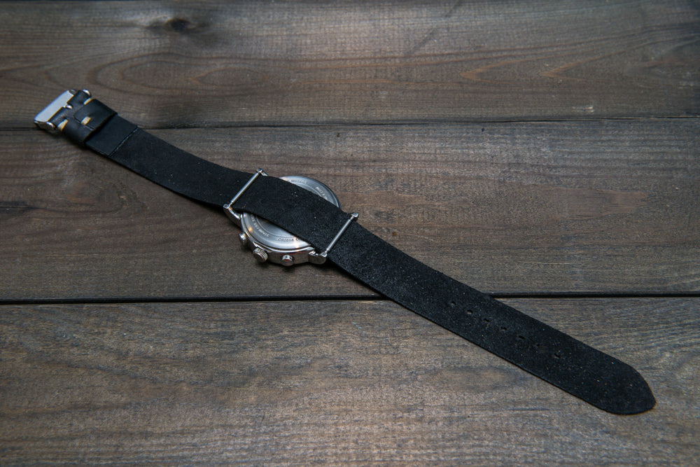 One-piece watch band, Horween Black Mustang Horse fronts - finwatchstraps