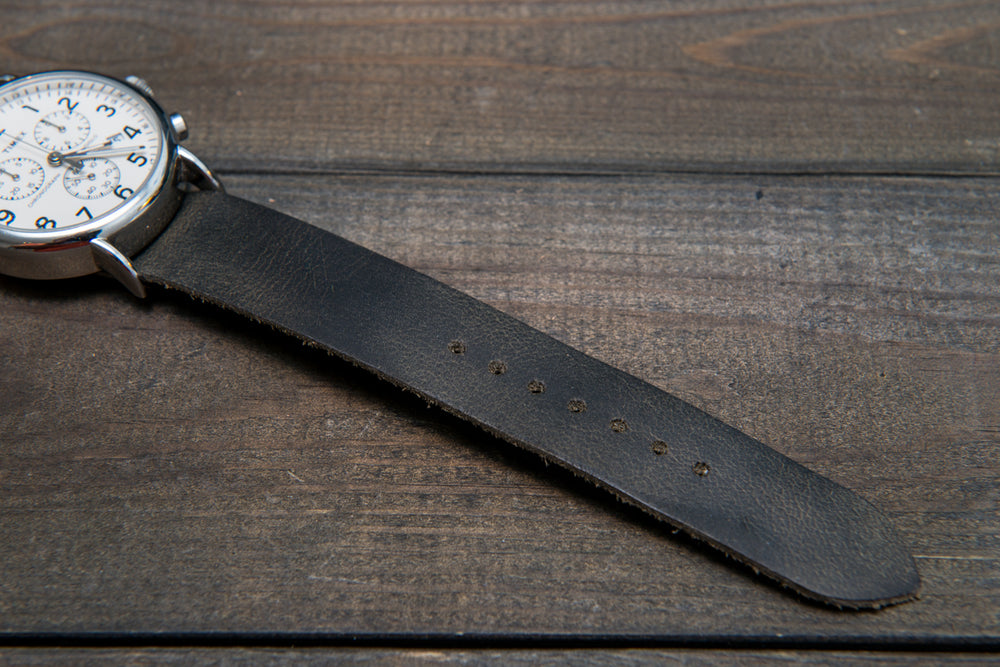 One-piece watch band, Military Grey leather watch strap - finwatchstraps