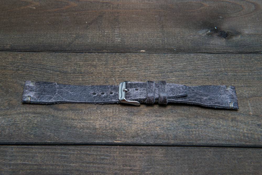Pilot Leather Watch Strap, Aviator model, Military style tapered model