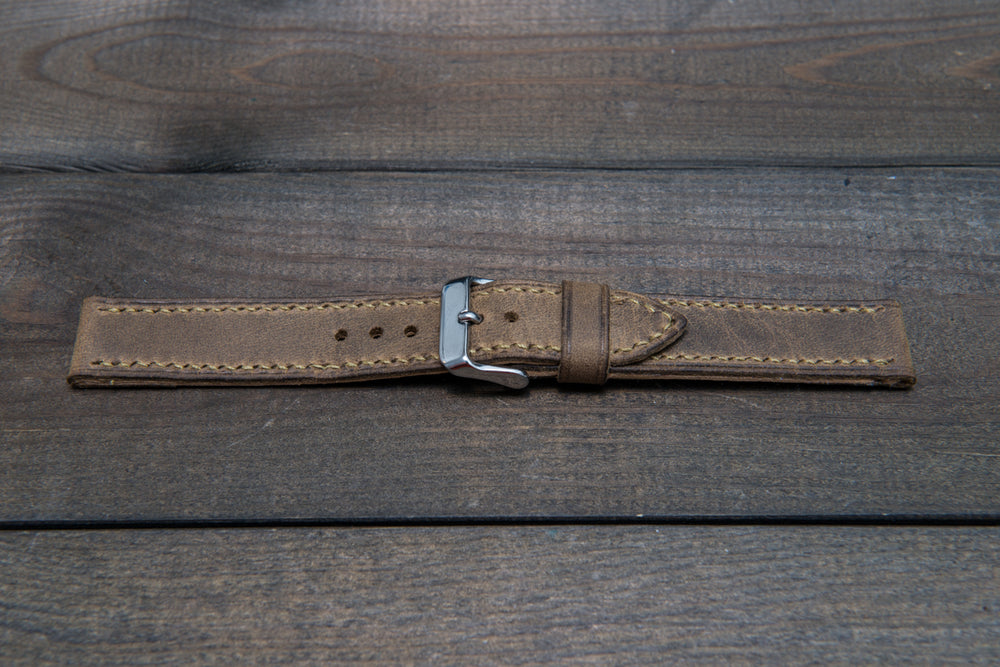 Military Olive hand stitched leather watch band,  handmade in Finland - finwatchstraps