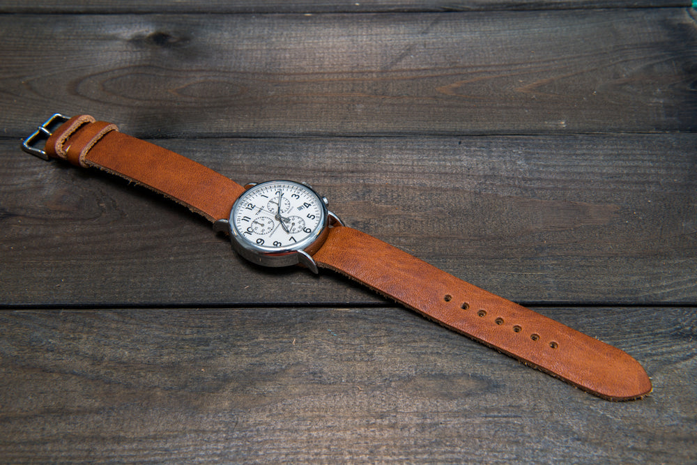 One-piece watch band, Horween Derby English Tan leather watch strap