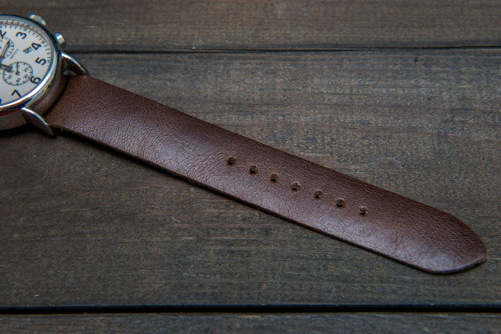 One-piece watch band, camel leather, antique brown color - finwatchstraps