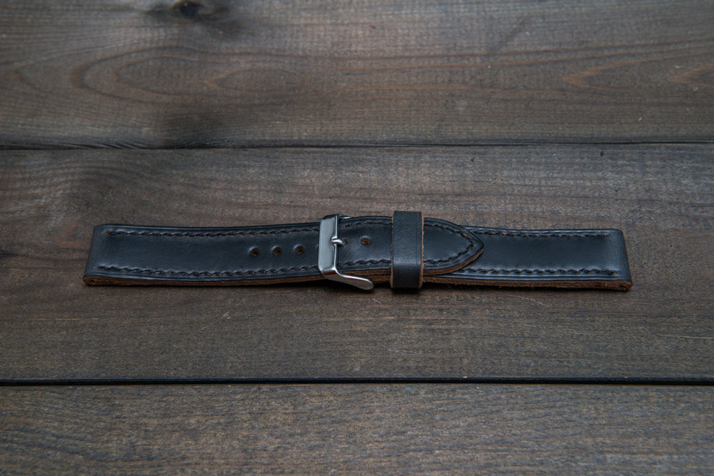 Horween Black Chromexcel leather, hand stitched watch band,  handmade in Finland - 18mm, 19 mm, 20mm, 21 mm, 22mm, 23 mm, 24mm, 25 mm, 26 mm. - finwatchstraps