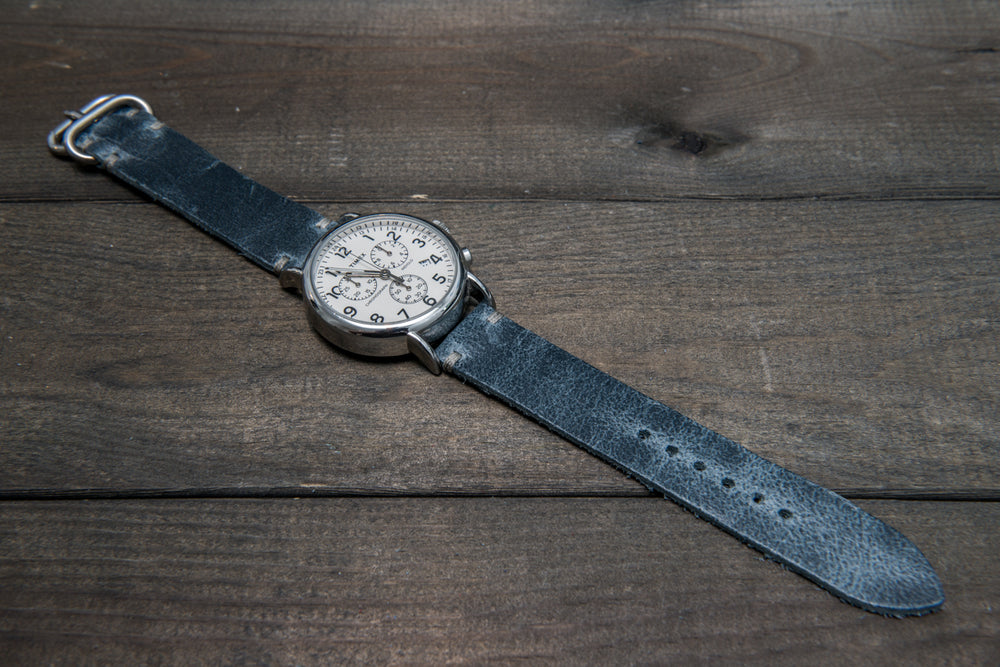 Suede vintage leather watch strap (Crazy Cow, Basalt), Zulu buckle, handmade in Finland