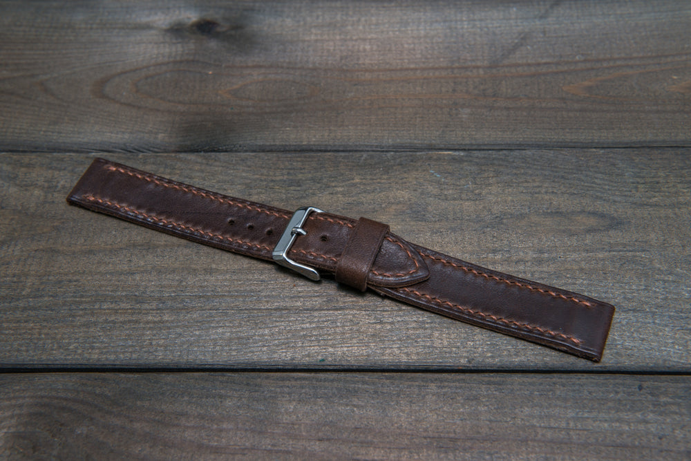 Buttero leather watch strap (Dark Brown), handmade in Finland - 16mm, 17 mm, 18mm, 19 mm, 20mm, 21mm, 22mm, 23 mm,  24mm, 25 mm, 26 mm. - finwatchstraps