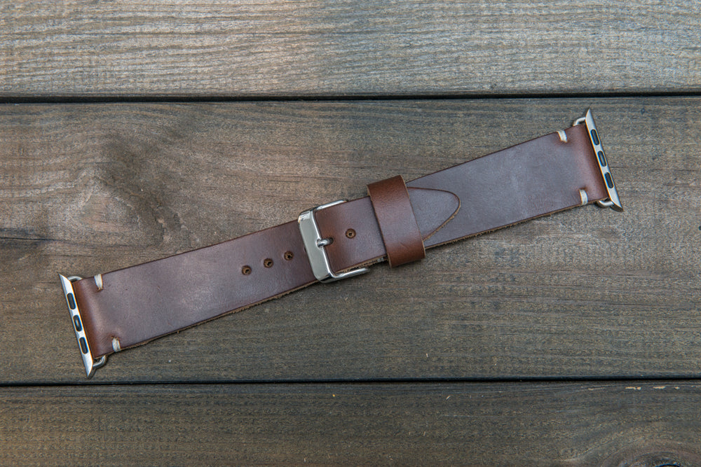 Apple Watch band, Horween Dark Brown Chromexcel: 38mm, 42mm. Gold, Rose gold, Black and Silver iWatch adapters. Tapered watch band for iWatch. - finwatchstraps