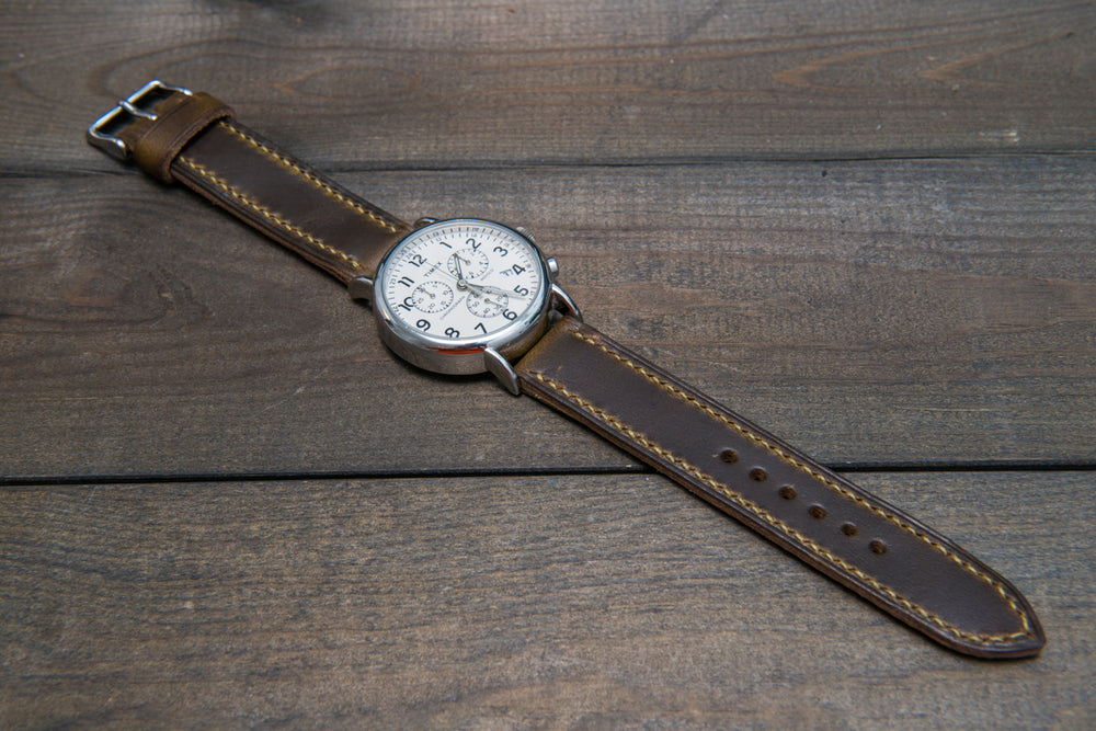 Olive Chromexcel hand stitched leather watch band,  handmade in Finland - finwatchstraps