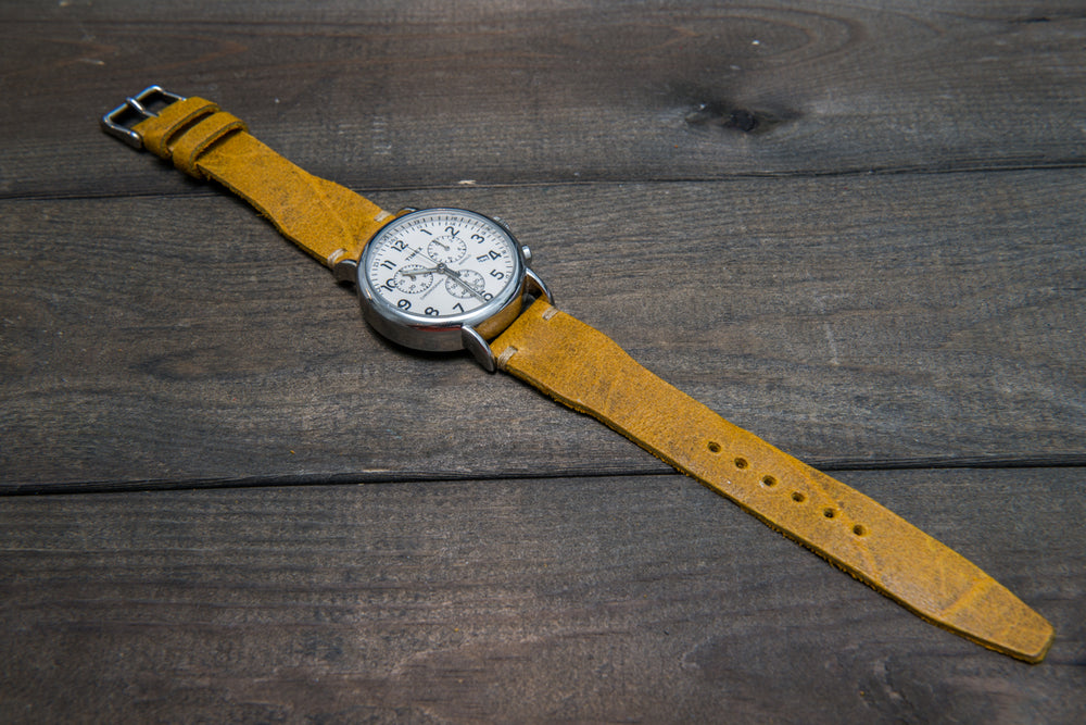 Pilot Leather Watch Strap, Aviator model, Military style tapered model - finwatchstraps