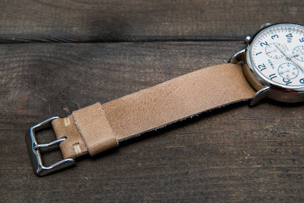One-piece watch band, camel leather, antique beige color - finwatchstraps