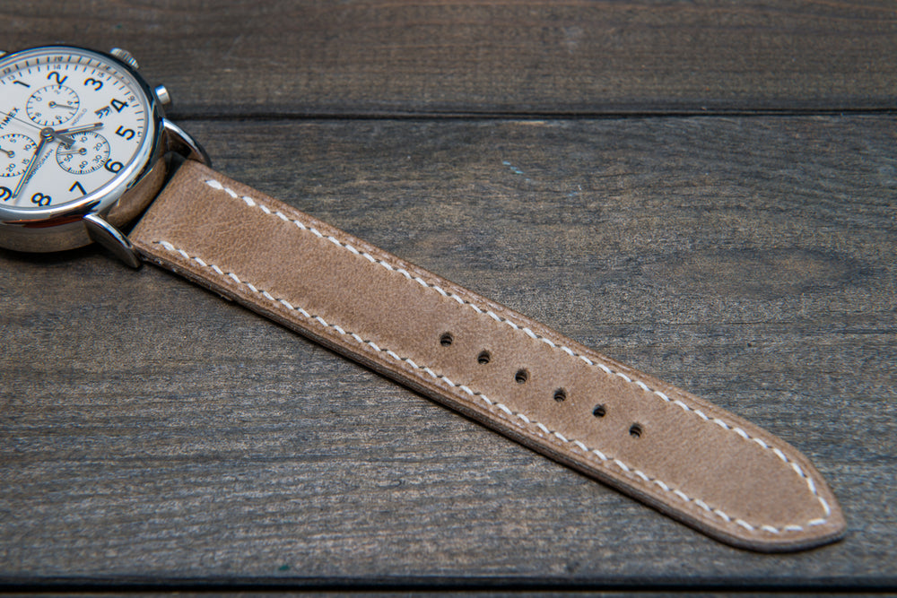 Camel leather watch strap, Antique beige,  handmade in Finland - 10mm, 12 mm, 14 mm, 16mm, 17 mm, 18mm, 19 mm, 20mm, 21mm, 22mm, 23 mm,  24mm, 25 mm, 26 mm. - finwatchstraps
