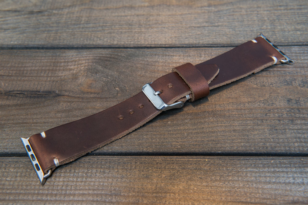 Apple Watch band, Horween Dark Brown Chromexcel: 38mm, 42mm. Gold, Rose gold, Black and Silver iWatch adapters. Tapered watch band for iWatch.