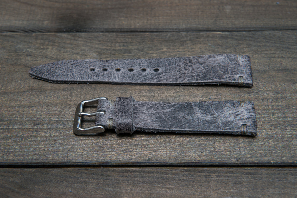 Suede vintage tapered leather watch strap (Crazy cow), handmade in Finland - finwatchstraps