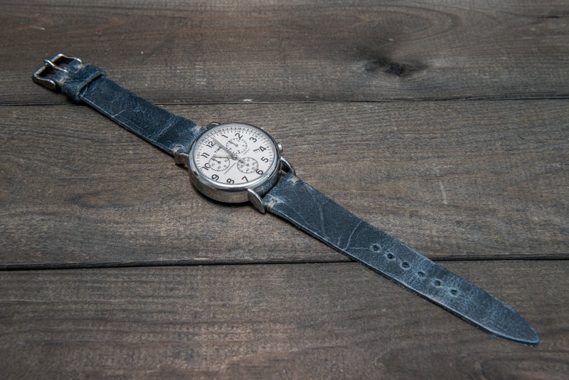 Suede vintage leather watch strap, tapered model (Crazy Cow, Basalt), handmade in Finland. - finwatchstraps