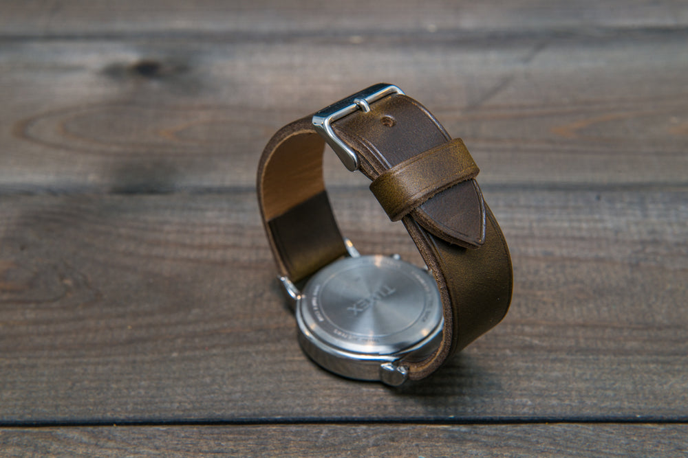 Horween Olive Chromexcel leather watch strap, non-stitched, handmade in Finland - finwatchstraps