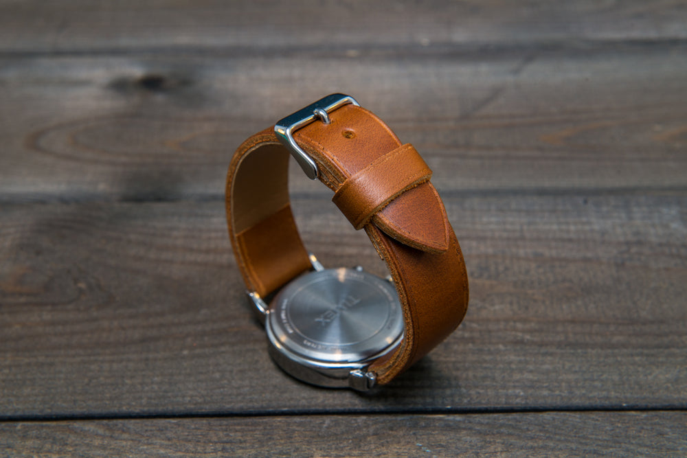 Horween Whiskey Cavalier (Chromexcel) leather watch strap, handmade in Finland - 10 mm, 12 mm, 14 mm, 16mm, 17 mm, 18mm, 19 mm, 20mm, 21 mm, 22mm, 23 mm, 24mm, 25 mm, 26m