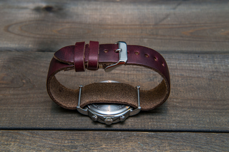 One-piece watch band, Horween Burgundy/ Chromexcel no 8. leather watch strap