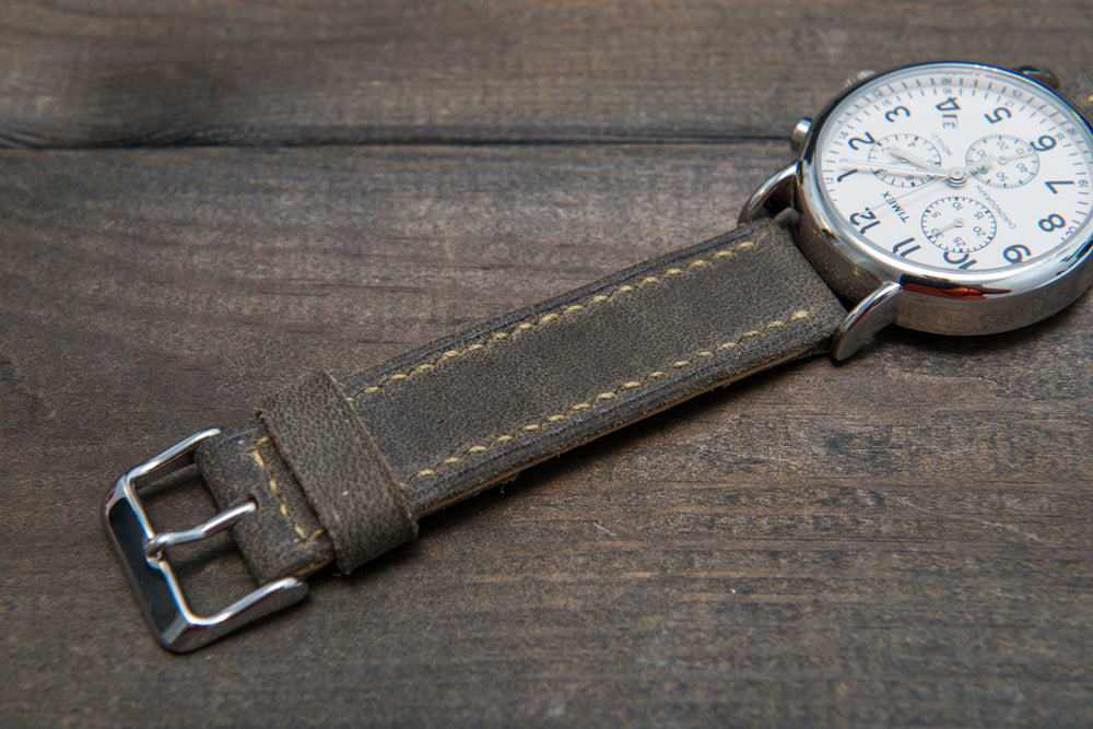 Military Grey hand stitched leather watch band,  handmade in Finland - finwatchstraps