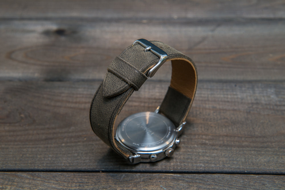 Horween Military Gray leather watch strap, handmade in Finland -10 mm, 12 mm, 14 mm, 16mm, 17 mm, 18mm, 19 mm, 20mm, 21 mm, 22mm, 23 mm, 24mm, 25 mm, 26mm. - finwatchstraps