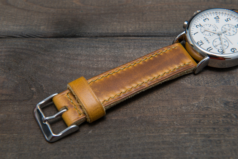 Sun Gold Cavalier hand stitched leather watch band,  handmade in Finland - finwatchstraps