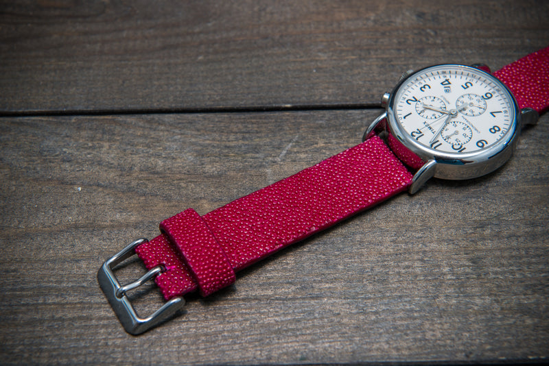 Stingray leather watch strap/ funchia