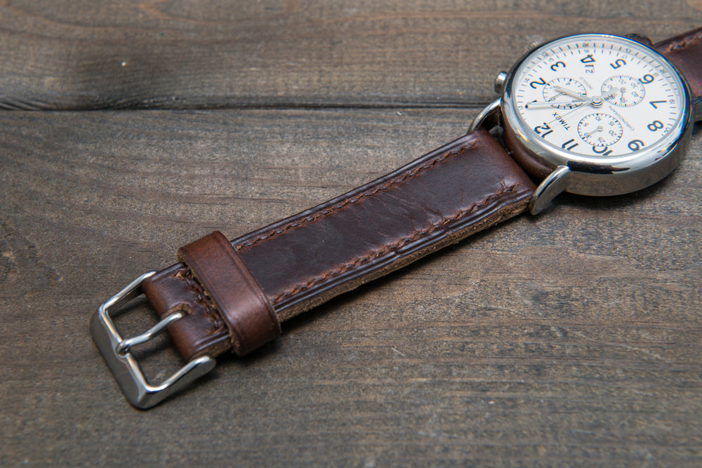 Dark Brown Chromexcel leather, hand stitched watch band,  handmade in Finland. - finwatchstraps
