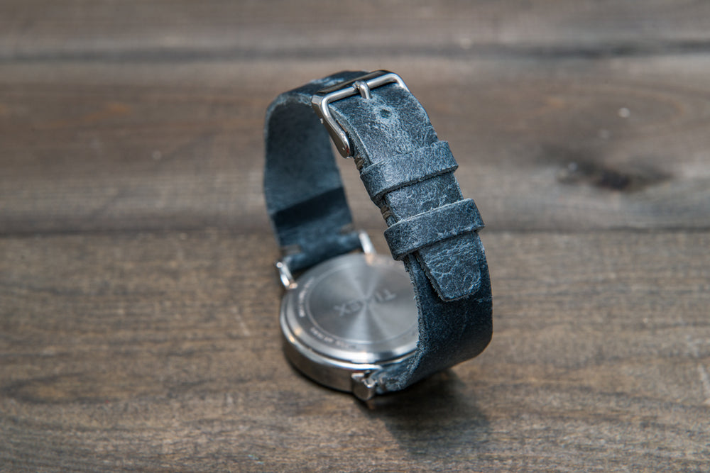 Pilot Leather Watch Strap, tapered model (Crazy Cow, Basalt)