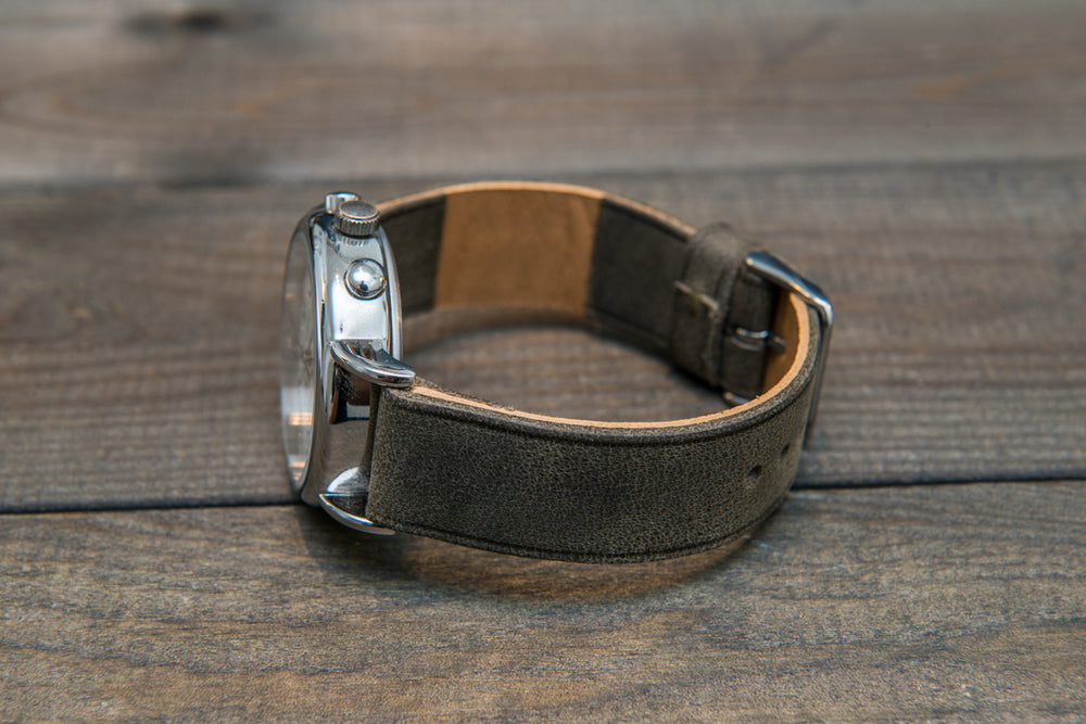 Horween Military Gray leather watch strap, handmade in Finland -10 mm, 12 mm, 14 mm, 16mm, 17 mm, 18mm, 19 mm, 20mm, 21 mm, 22mm, 23 mm, 24mm, 25 mm, 26mm.