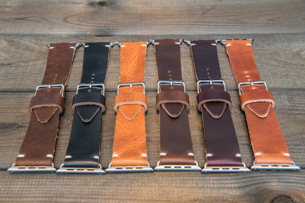Apple Watch band Horween Black Chromexcel leather: 38mm, 42mm, fits Gold, Rose gold, Black and Silver iWatch. Tapered watch band for iWatch. - finwatchstraps