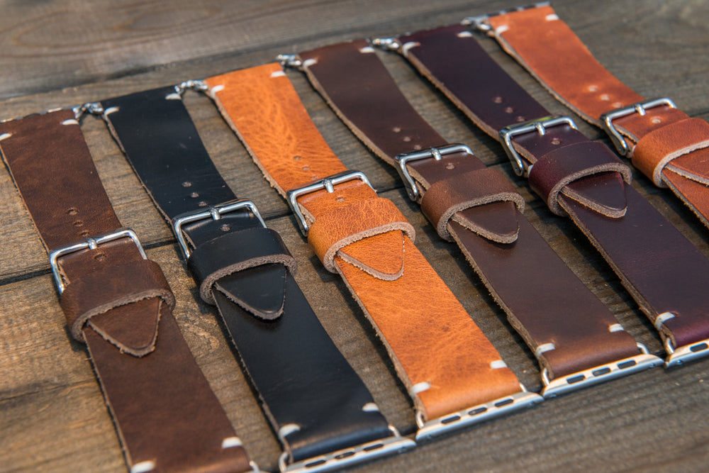 Apple watch 3,4,5  leather band. Horween Dublin Cognac 40 mm, 44 mm. Tapered 24x20 mm for iWatch 42 mm, 22x18 mm for iWatch 38 mm. - finwatchstraps