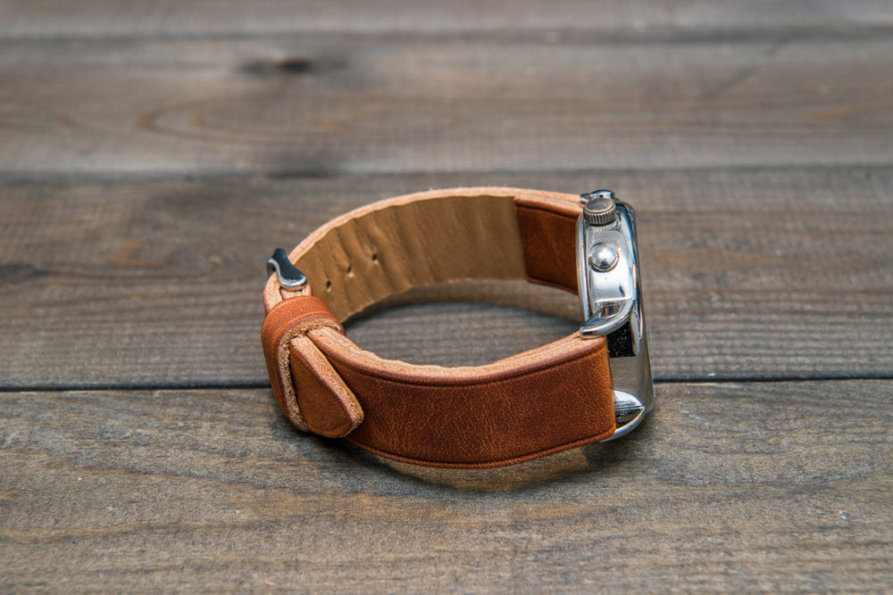 Derby English Tan Horween leather watch strap, handmade in Finland -10 mm, 12 mm, 14 mm, 16mm, 17 mm, 18mm, 19 mm, 20mm, 21 mm, 22mm, 23 mm, 24mm, 25 mm, 26mm.