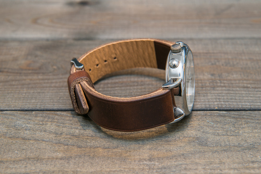 Dark Brown Horween Chxl leather watch strap, handmade in Finland -10 mm, 12 mm, 14 mm, 16mm, 17 mm, 18mm, 19 mm, 20mm, 21 mm, 22mm, 23 mm, 24mm, 25 mm, 26mm. - finwatchstraps
