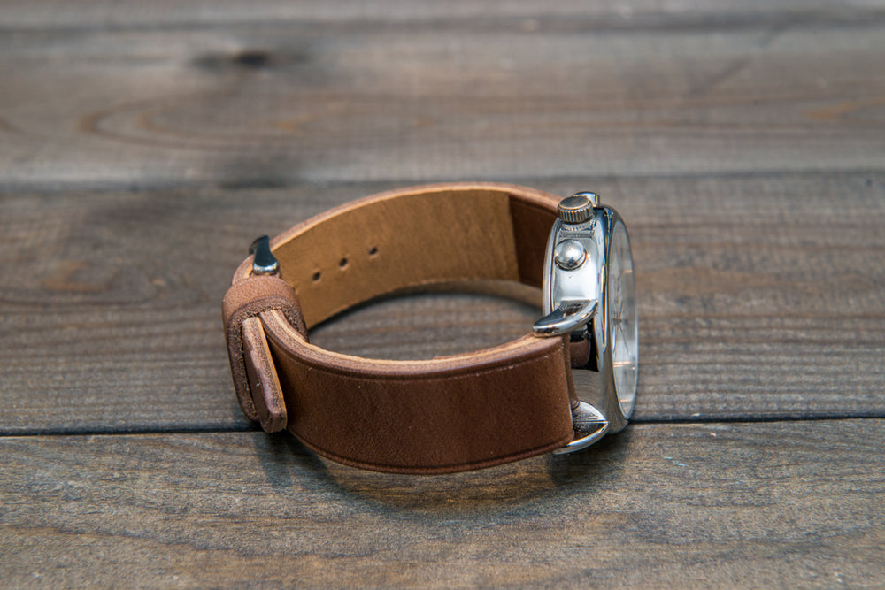 Horween Tan Chromexcel (horsebutt) leather watch strap, handmade in Finland -10 mm, 12 mm, 14 mm, 16mm, 17 mm, 18mm, 19 mm, 20mm, 21 mm, 22mm, 23 mm, 24mm, 25 mm, 26mm. - finwatchstraps